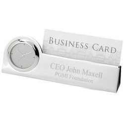 Personalized Silver Desktop Clock Card Holder