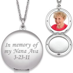 Engraved Round Photo Locket Necklace