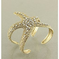 Gold Starfish Cuff Bracelet with Crystlals