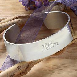 Personalized Savannah Silver Cuff Bracelet