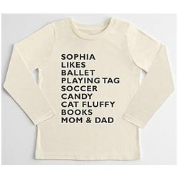 Kids' Likes Personalized Long Sleeve T-Shirt