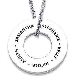 Stainless Steel Family Name Engraved Wide Disc Necklace