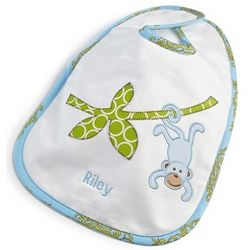 Embroidered Blue Monkey Baby Bib