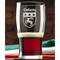 Personalized Irish Coat of Arms Tavern Glasses