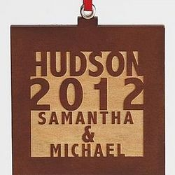 Personalized Square Wood Ornament