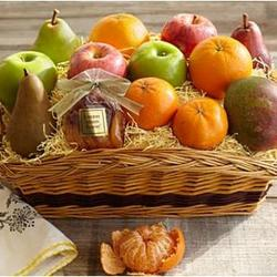 Fresh and Dried Fruit Gift Basket with Merry Christmas Ribbon