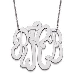 10K White Gold Large Three Initial Monogram Necklace