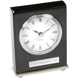 Personalized Desktop Clock in Black Lacquer and Carbon Fiber Look