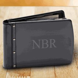 Personalized Black Zippo Stainless Steel Wallet