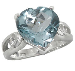 Checkerboard Blue Topaz Heart Silver Ring