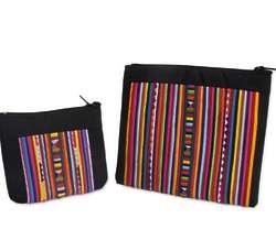 2 Lisu Rainbow Cotton Blend Cosmetic Bags