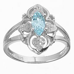 Sterling Silver Aquamarine Marquise Ring