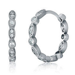 0.7 Inch Cubic Zirconia Hoop Huggie Sterling Silver Earrings