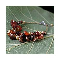 Hot Tropics Pearl and Carnelian Cluster Bracelet