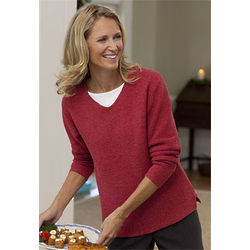 Women's V-Neck Cotton-Blend Sweater