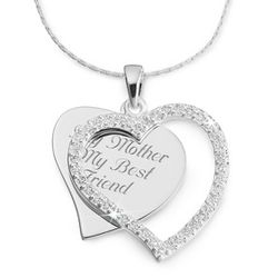 CZ Heart Swing Necklace