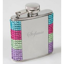 Engraved Crystal Rainbow Dazzle Flask