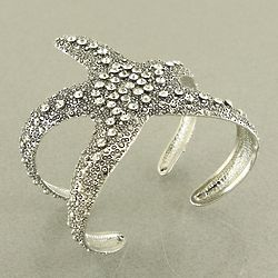 Silver Starfish Cuff Bracelet with Crystals