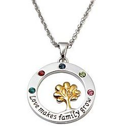 Personalized Love Makes Family Grow Birthstone Necklace