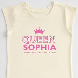 Queen Crown Girl's Personalized T-Shirt