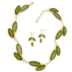 Green Sage Artisan Glass Necklace and Earrings Set