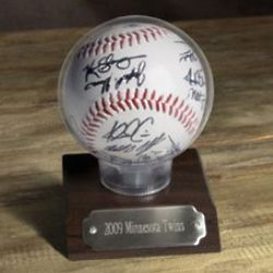 Personalized MLB Team Autographed Baseball in Case