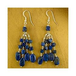 Blue Harmony Lapis Lazuli Waterfall Earrings