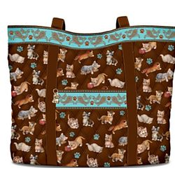 The Kitten Capers Quilted Tote Bag with Matching Cosmetic Cases