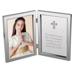 Silver Cross Confirmation Personalized Message Frame