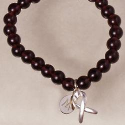 Purple Bead Hope Awareness Charm Bracelet
