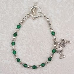 Girl's Crystal Irish Rosary Bracelet with Cross and Chalice
