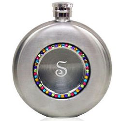 Engraved Round Silver Bijou Flask with Rainbow Crystals