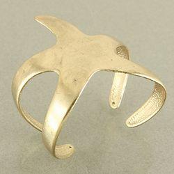 Matte Gold Starfish Cuff Bracelet