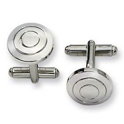 Polished Classic Stainless Steel Cufflinks