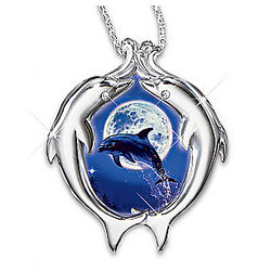 Moonlit Dolphin Dance Diamond Necklace