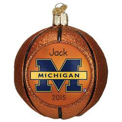 Personalized University of Michigan Basketball Glass Ornament