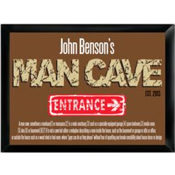 Personalized Man Cave Definition Framed Pub Sign