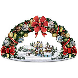 Thomas Kinkade Christmas Wreath Sculpture