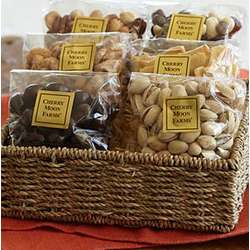 Nuts and Sweets Gift Basket with Personalized Ribbon