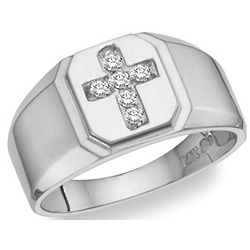 Men's White Topaz Gemstone Cross Ring