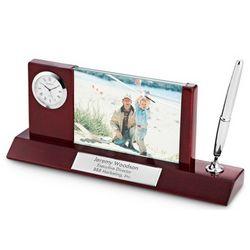 Mahogany and Silver Photo Clock Pen Stand