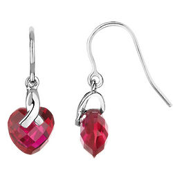 Sterling Silver Created Ruby Heart Earrings