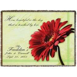 Custom Woven Red Gerber Daisy Blanket Throw