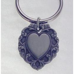 Engravable Pewter Filigree Heart Key Ring