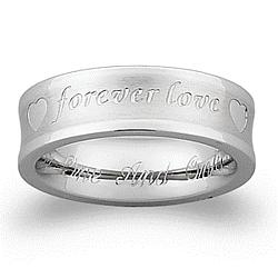 Stainless Steel 'Forever Love' Engraved Message Band