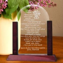 Personalized Mom Poem Glass Arch Keepsake with Wooden Base
