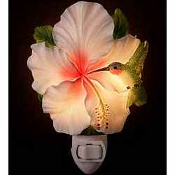 Hibiscus and Hummingbird Night Light