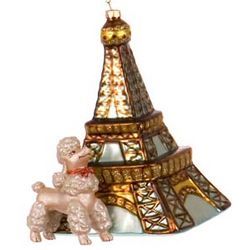 Paris Eiffel Tower and Poodle Personalized Christmas Ornament