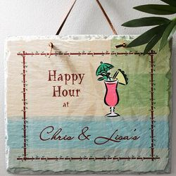 Personalized Happy Hour Slate Plaque