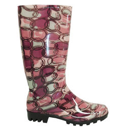 Women's Circle Print Rubber Rain Boots